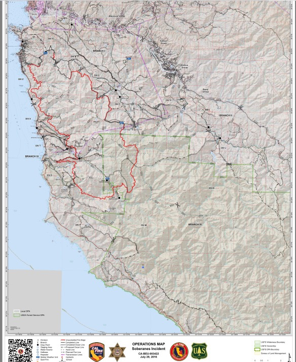 on map of big sur fire